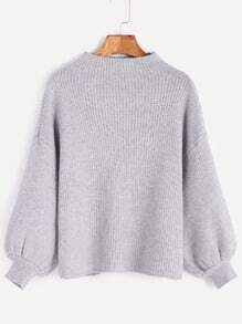 Grey Drop Shoulder Lantern Sleeve Ribbed Sweater
