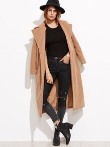 Camel Oversized Collar Open Front Coat