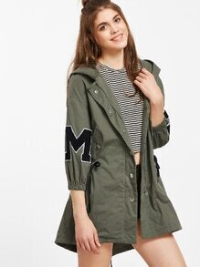 Army Green Letter Print Hooded Drawstring Coat