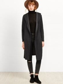 Dark Grey Long Hooded Coat