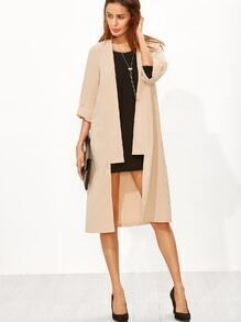 Apricot 3/4 Sleeve Collarless Duster Coat