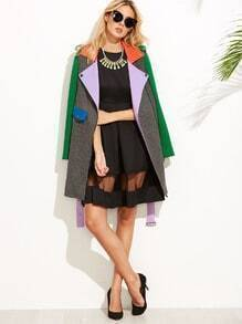 Color Block Belted Asymmetric Zip Coat