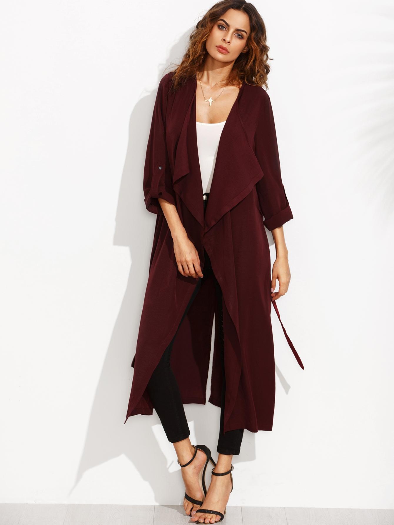 4d2e11b722ffa Burgundy Lapel Rolled Up Sleeve Split Long Outerwear | ROMWE