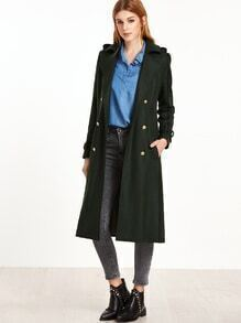 Dark Green Epaulet Shoulder Belted Cuff Double Breasted Coat