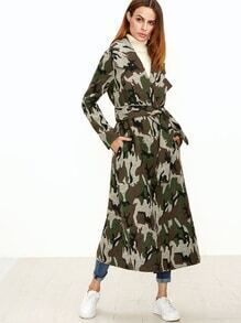 Olive Green Camo Pattern Longline Wrap Coat
