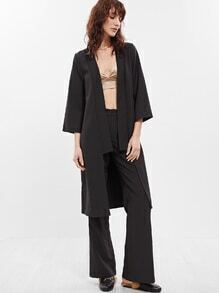 Black 3/4 Sleeve Collarless Duster Coat