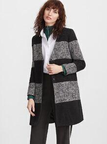 Color Black V Neck Button Up Coat