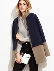 Color Block Stand Collar 2 In 1 Coat