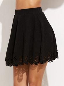Black Laser Cutout Scallop Hem Textured Skirt