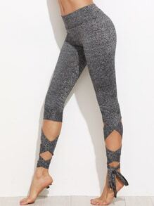 Grey Marled Knit Cropped Tie Leggings