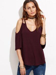 Burgundy Strappy Cold Shoulder T-shirt