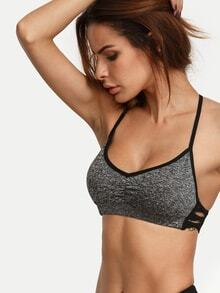 Grey Spaghetti Strap Cutout Crop Top