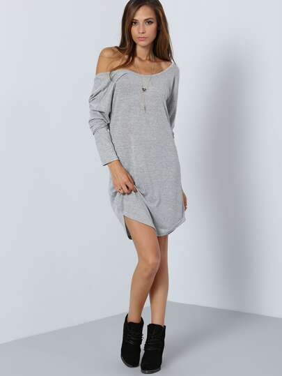 Home Clothing Dresses Grey Long Sleeve V Back Dress