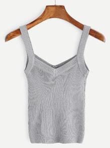 Grey Ribbed Knit Tank Top