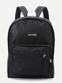 Black Zipper Detail Canvas Backpack