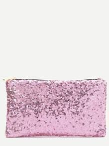 Pink Sequin Clutch Bag With Leopard Lining