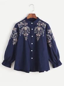 Navy Flower Embroidered Shirred Cuff Shirt