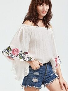 White Off The Shoulder Bell Sleeve Embroidered Blouse