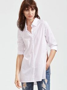 White Slit Side High Low Curved Hem Shirt