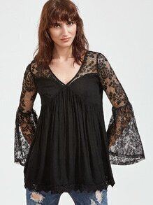 Black V Neck Bell Sleeve Contrast Lace Blouse