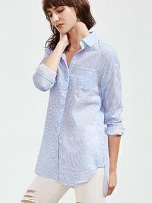 Blue Vertical Striped High Low Curved Hem Shirt