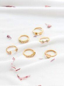 Gold Rhinestone Detail Delicate Ring Set