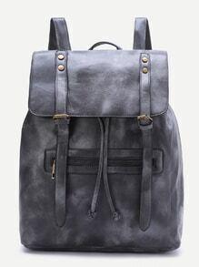 Dark Grey Double Buckle PU Backpack