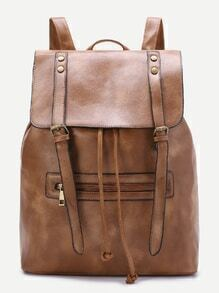 Brown Double Buckle PU Backpack