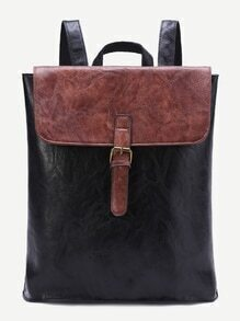 Black Contrast Top Front Buckle PU Backpack