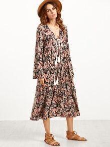 Paisley Print Deep V Neck Lace Up Shift Dress