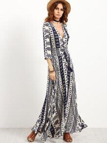 Vintage Print Deep V Neck Drawstring Lace Insert Dress