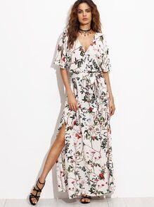 Multicolor Short Sleeve Maxi Dress