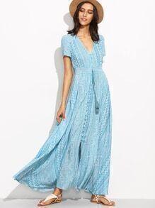 Blue Geometric Print V Neck Drawstring Button Front Dress