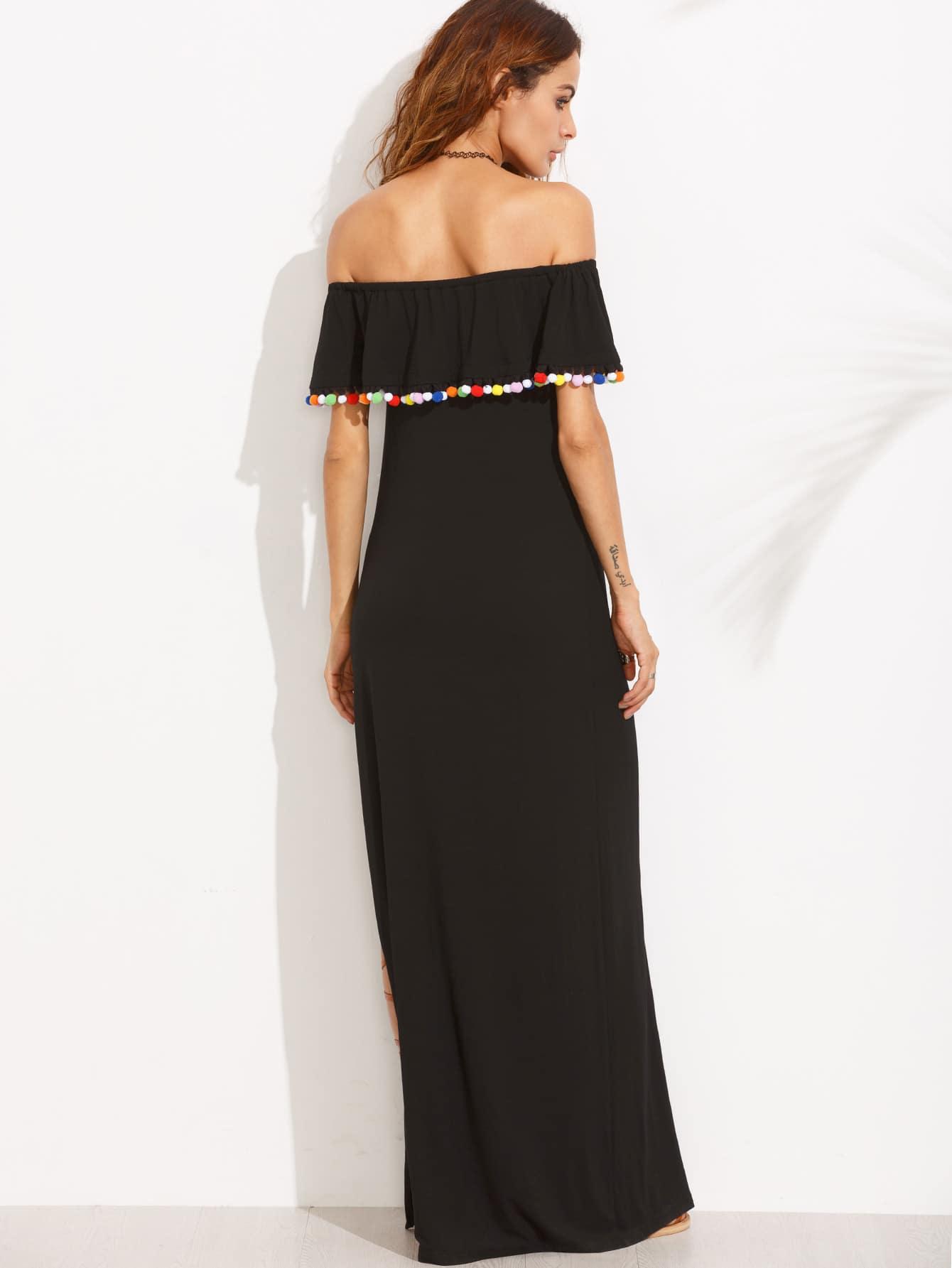 robe longue fendue col bateau avec pompons noir french romwe. Black Bedroom Furniture Sets. Home Design Ideas