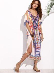 Multicolor Print Criss Cross Front Split Side Midi Dress