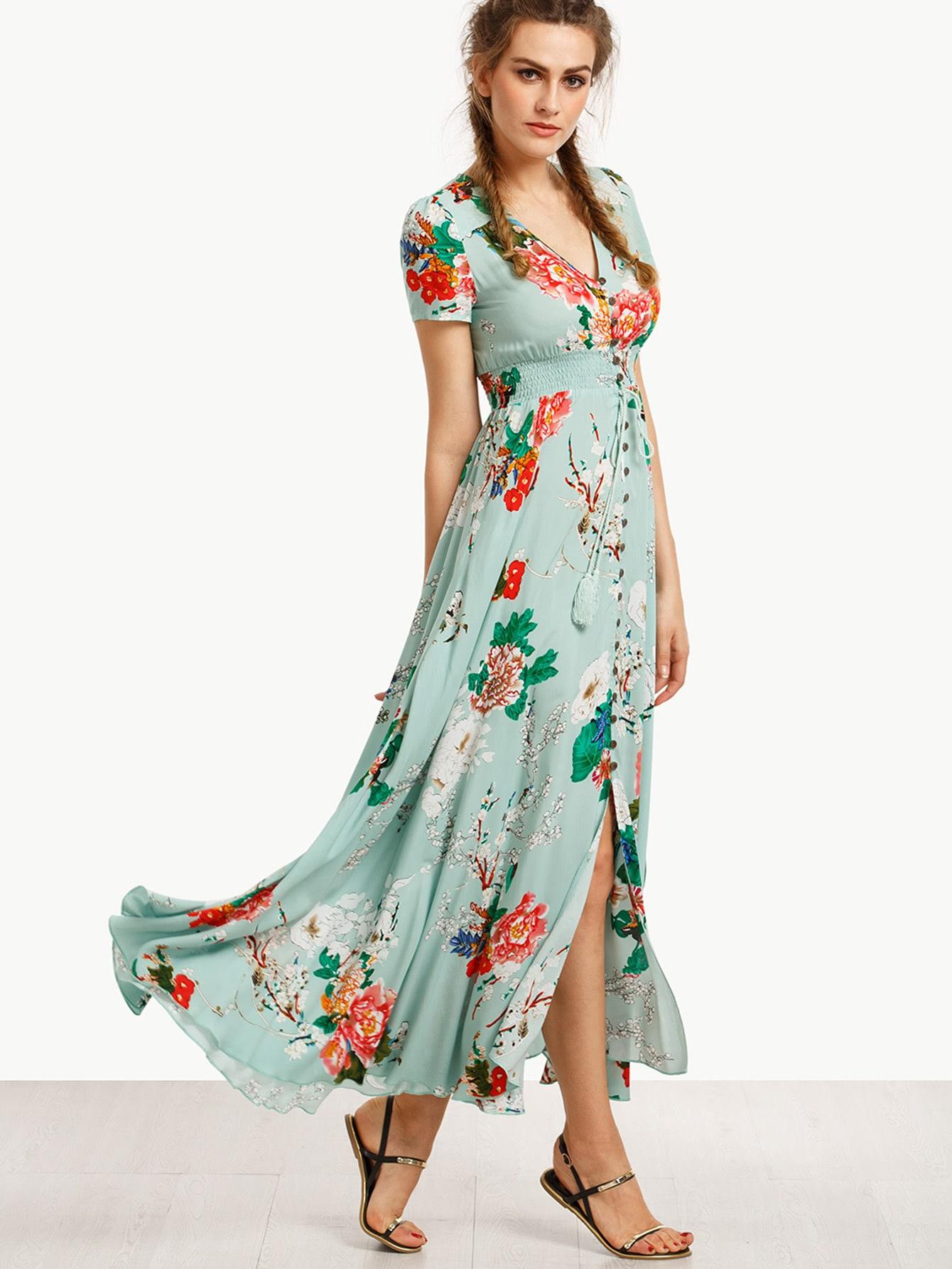 Robe Longue Imprime Fleuri Manche Courte French Romwe