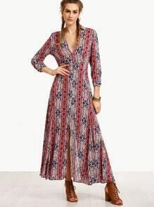 Multicolor V Neck Split Side Long Dress