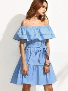 Blue Tie Waist Hollow Insert Ruffle Off The Shoulder Dress