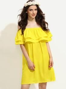 Vestido volantes hombro al aire holgado - amarillo