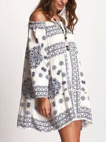 Blue Print Off Shoulder Crochet Insert Dress
