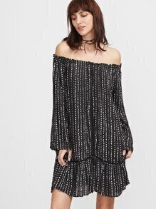 Black Off The Shoulder Dot Print Ruffle Dress