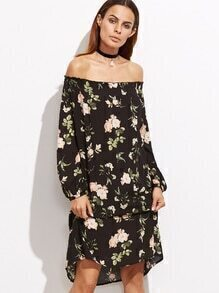 Black Florals Off The Shoulder Lantern Sleeve Dress