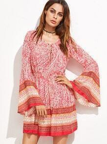 Tribal Print Bell Sleeve Tie Detail Dress