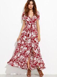 Burgundy Floral Self Tie Fringe Split Dress