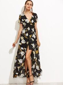 Black Floral Deep V Neck Self Tie Warp Dress