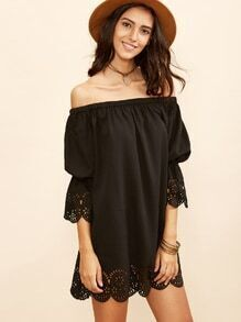 Black Laser Cutout Off The Shoulder Scallop Dress