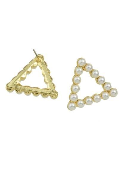Triangle Small Pearl Round Square Triangle Shape Ear Stud