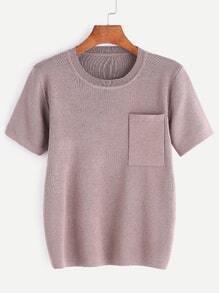 Dark Pink Knit Short Sleeve Pocket T-shirt