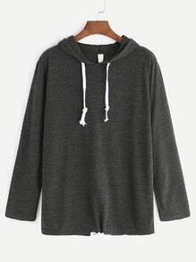 Dark Grey Hooded Drawstring Hem T-shirt