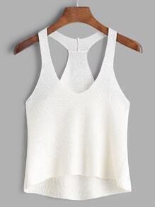 White Knit Dip Hem Tank Top